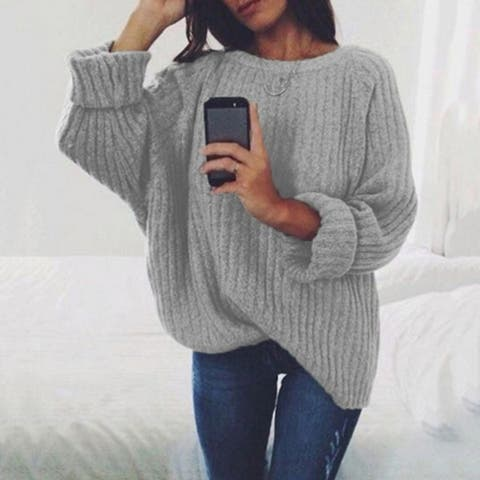 Large Round Neck Long Sleeve Pullover