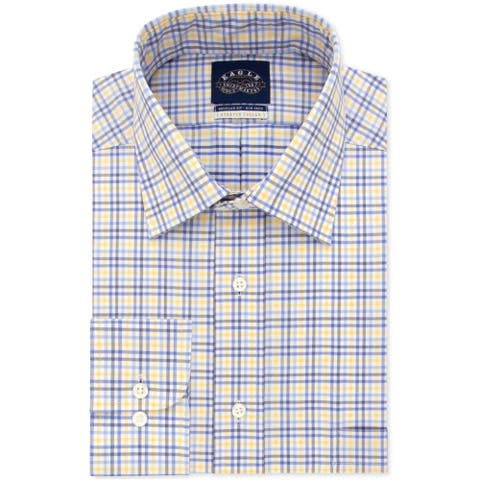 """Eagle Mens Classic Fitting Check Button Up Dress Shirt, yellow, 18"""" Neck 35""""-36"""" Sleeve - 18"""" Neck 35""""-36"""" Sleeve"""