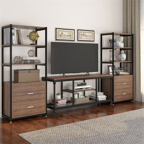 TV Console Media Stand, TV Stand with Wheels