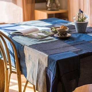 RusticReach Patchwork Cotton Tablecloth in Blue