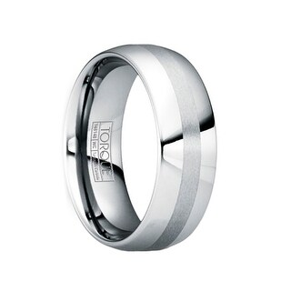 OTHO Polished Tungsten Wedding Ring with Brushed Stripe by Crown Ring