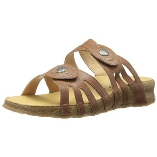 Haflinger Womens Paris Leather Textured Slide Sandals - 5 medium