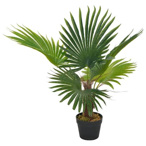 vidaXL Artificial Plant Palm with Pot Green 27.6""