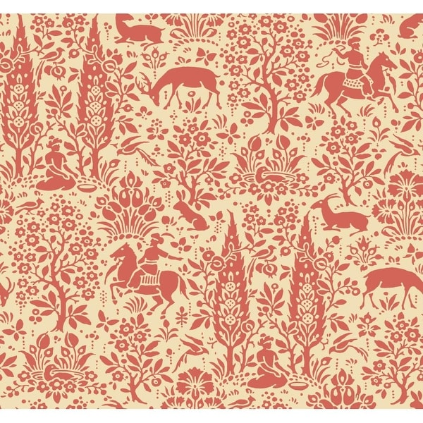 Shop York Wallcoverings AP7449 Orange and Yellow Book Scenic Woodland Wallpaper - Coral/Beige - Free Shipping Today - Overstock - 17873708