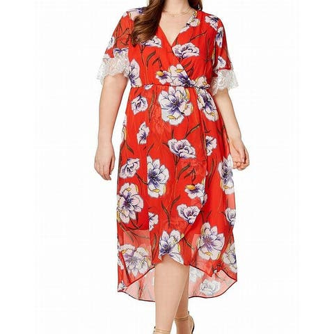 c1f3a915da4 Ny Collection Red Women s 3X Plus Floral Print Hi-Lo Maxi Dress