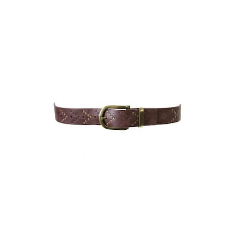 Style & Co. Brown Gold Chevron Stud Pant Belt S