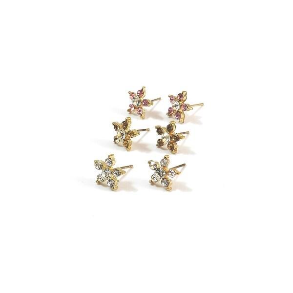 Star Shape Stones Multi Earrings Set Pink Yellow Smoke Clear