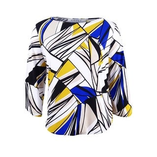 Kasper Women's Plus Size Cold-Shoulder Blouson Top - cobalt multi