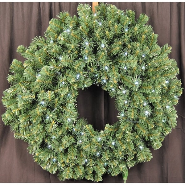 Christmas at Winterland WL-GWSQ-03-LPW 3 Foot Pre-Lit Pure White LED Sequoia Wreath