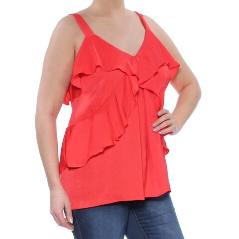 Michael Kors Poppy Red Women's Size XL Ruffle V-Neck Tank Top
