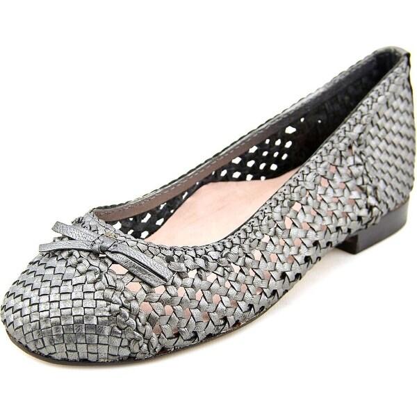 Taryn Rose Bobo Women Round Toe Leather Silver Flats