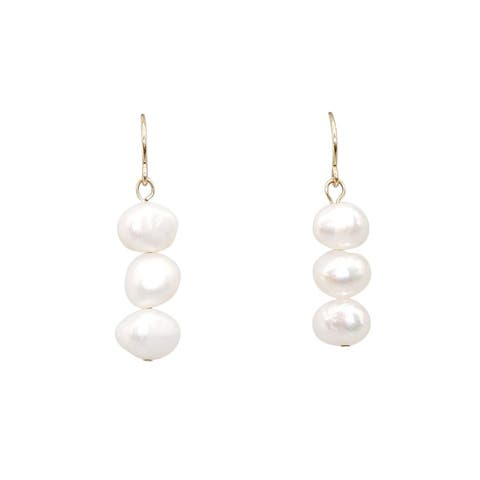 3-PC White Baroque Pearl Earrings on Gold-filled Wires