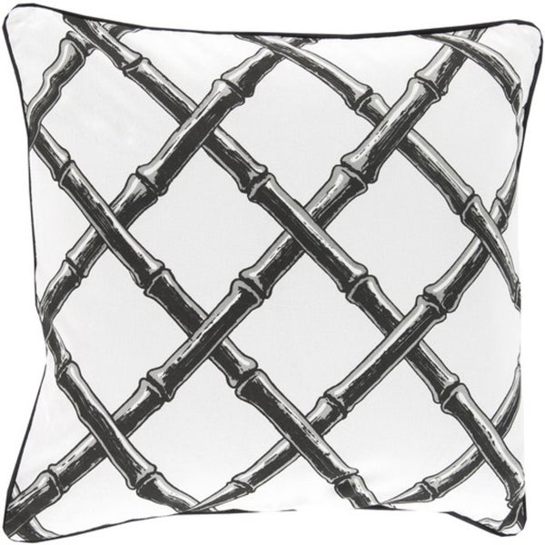 "20"" Charcoal Black and Snow White Bamboo Lattice Decorative Throw Pillow"