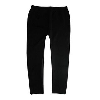 Sofra Big Girls Black Solid Color Soft Texture Trendy Leggings 7/8