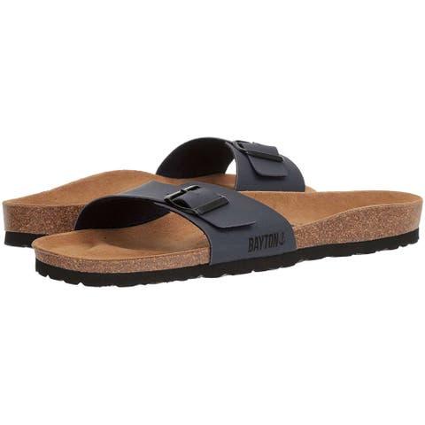 Bayton Mens zephyr Leather Slip On Open Toe Slides
