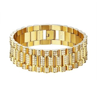 Presidential Link Bracelet Gold Plated Stainless Steel Iced Out Mens 21mm Classy
