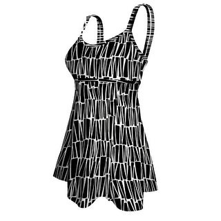 Deep Blue Womens Black White Geometric Double Strap Plus Size Swim Dress