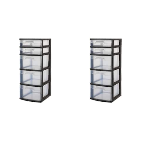 """Case of 2 Sterilite 5 Drawer Towers - 14.75"""" wide"""