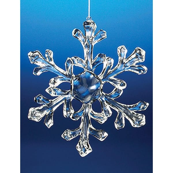 "Club Pack of 18 Icy Crystal Decorative Medium Christmas Snowflake Ornaments 6"" - CLEAR"