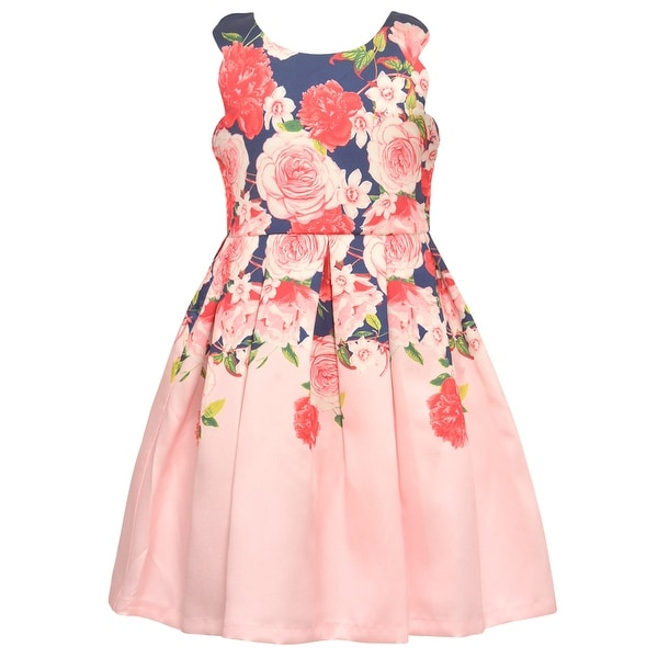 a8ad1526f74 Shop Bonnie Jean Girls Navy Pink Floral Print Knee-Length Easter Dress -  Free Shipping On Orders Over $45 - Overstock - 27103333