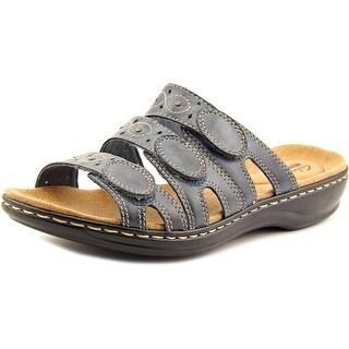 Clarks Leisa Cacti Q Women W Open Toe Leather Blue Slides Sandal
