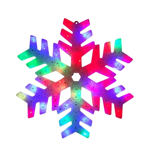 """15"""" LED Color Changing Christmas Snowflake Window Silhouette"""