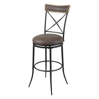 26 in. Boise Metal Counter Stool with Black Upholstered Swivel-Sea