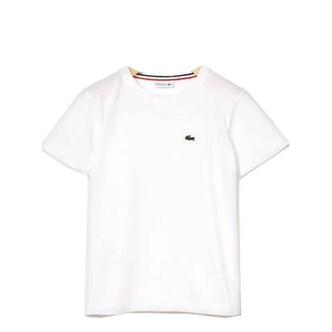 Lacoste White Crew Neck Cotton Jersey Trendy T-shirt Big Boys 10