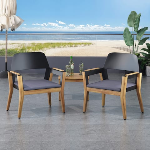 Soho Outdoor Acacia Wood Club Chairs with Cushion (Set of 2) by Christopher Knight Home
