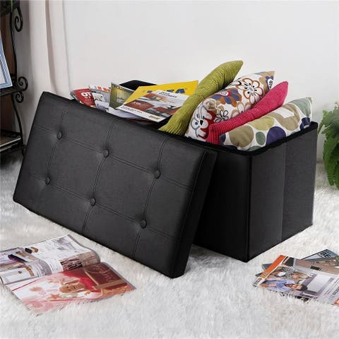 """30"""" Leather Rectangle Shape Surface Ottomans with Line Footstool"""