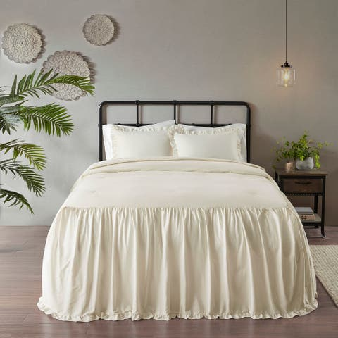 Madison Park Cecelia Ivory Cotton Ruffle Skirt Bedspread Set