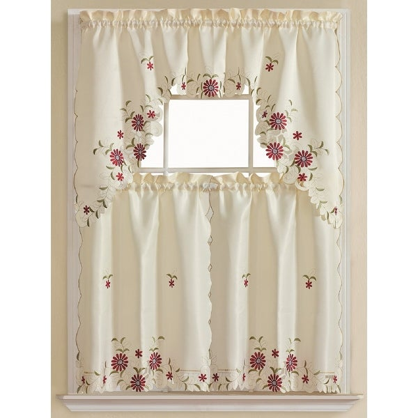 Rosa 3 Piece Embroidered Kitchen Curtain Set Beige Tiers 30x36 Swag 60x36