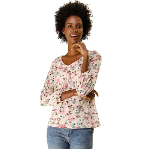 Women's Shirt 3/4 Sleeve Casual Loose V Neck Floral Blouse Top - Pink