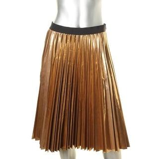 DKNY Womens A-Line Skirt Metallic Below Knee