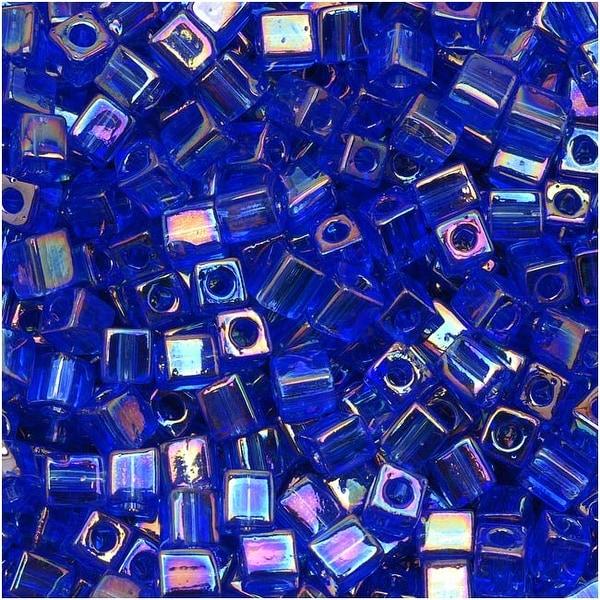 Miyuki 4mm Glass Cube Beads Transparent Sapphire AB 290 10 Grams