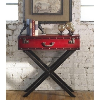 "31.75"" Antique Red Trunk Wooden Console Table"