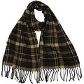 Winter or Fall Cold Weather Irish Plaid Long Cashmere Feel Scarf, Brown - Thumbnail 0
