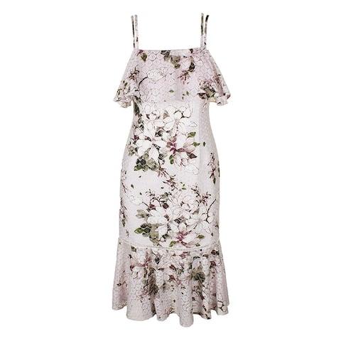 Rachel Rachel Roy Pink Multi Floral-Print Spaghetti Strap Ruffled Sheath Dress 2