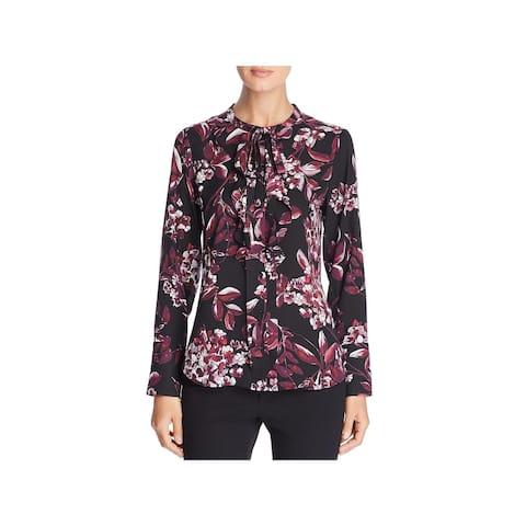Karl Lagerfeld Womens Button-Down Top Floral Ruffled