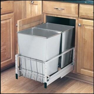 Rev-A-Shelf 5349-18DM-2SS 5349 Series Bottom Mount Double Bin Trash Can Soft Close Slides - 32 Quart Capacity per Bin