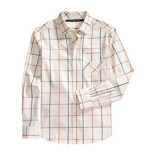 Sean John Mens Regular Fit Windowpane Long Sleeve Shirt Cream