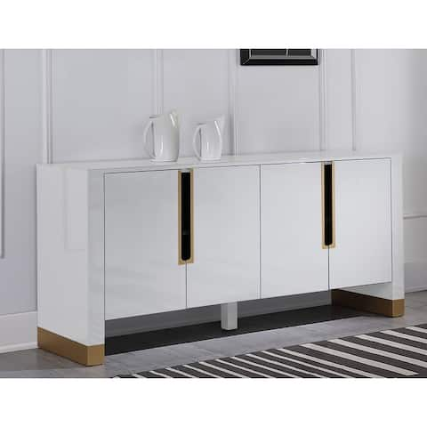 Best Master Furniture Lacquered 4-door Sideboard with Gold Accents