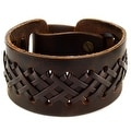 Brown Laced Leather Cuff Bracelet (33 mm) - 8 in - Thumbnail 0