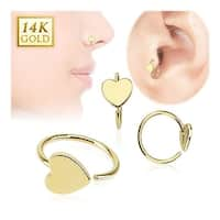 14 Karat Solid Yellow Gold Heart Hoop Ring (Sold Ind.)