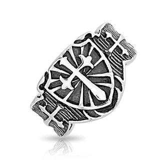 Bling Jewelry Stainless Steel Medieval Cross Biker Motorcycle Ring