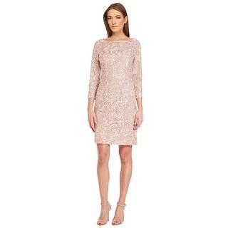 Aidan Mattox Soutache Lace 3/4 Sleeve Cocktail Evening Dress - 8