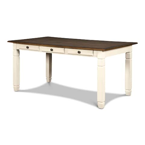The Gray Barn Miranda 6-drawer Rectangular Dining Table, Cottage White, by New Classic Furniture