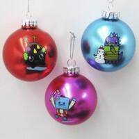 "Pack of 6 Bright Red, Pink and Blue So So Happy Christmas Ornaments 2.5"" - RED"