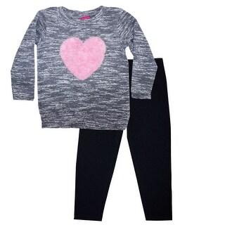Little Girls Black Gray Melange Heart Long Sleeve Top 2 Pc Pant Outfit