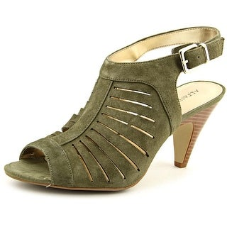 Alfani Primere Women Open-Toe Leather Green Slingback Heel